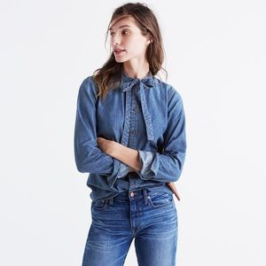 Madewell denim tie front top